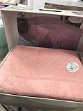 Простынь махровая жаккардовая  200 на 220 см  Gulcan персиковая. Новинка 2021 года!, фото 2