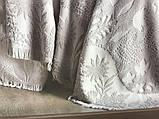Жаккардовая простынь c бахромой 220 на 240  Pupilla Eliz gri, фото 9
