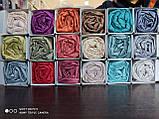 Сатиновая простынь на резинке 180х200см и 2 наволочки BELIZZA Турция голубая, фото 3