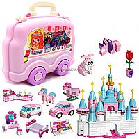 Конструктор Qman «Замок принцессы» в чемодане-машинке, 690 деталей, 3+ (2905), фото 1