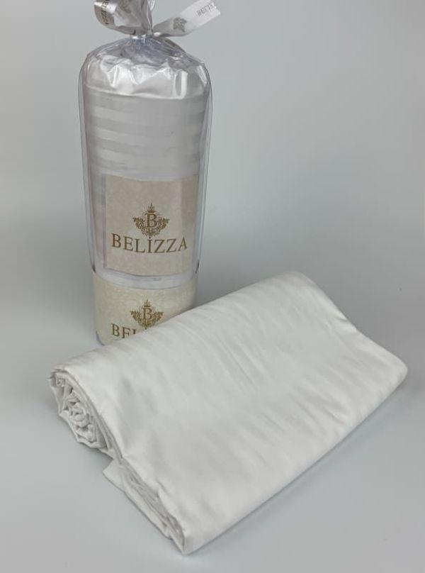 Сатиновая простынь 240 на 260 см  BELIZZA Турция белая