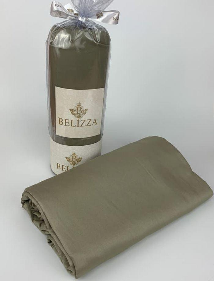 Сатиновая простынь 240 на 260 см  BELIZZA Турция оливковая