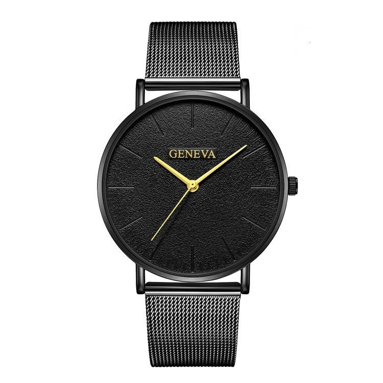 Женские часы Geneva Classic steel watch черные с золотым, наручные кварцевые часы Женева