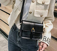 Женская сумка через плечо черного цвета, женская сумочка клатч, фото 2