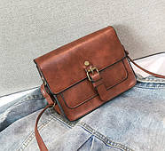 Женская сумка через плечо коричневого цвета, женская сумочка клатч, фото 3