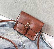 Женская сумка через плечо коричневого цвета, женская сумочка клатч, фото 4