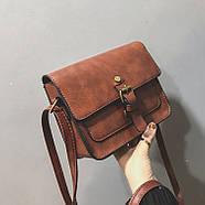 Женская сумка через плечо коричневого цвета, женская сумочка клатч, фото 5