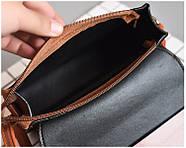 Женская сумка через плечо коричневого цвета, женская сумочка клатч, фото 6