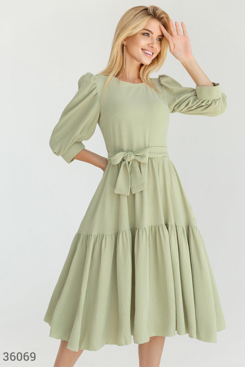 Сукня міді з об'ємними рукавами оливкова
