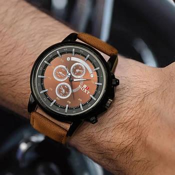 Часы мужские наручные SOXY черные с коричневым ремешком