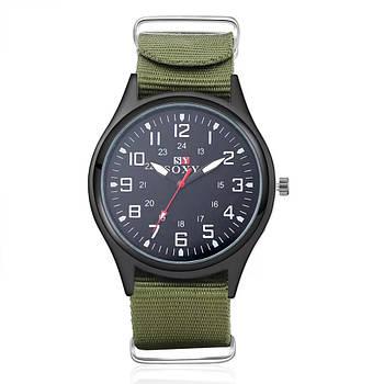 Часы мужские наручные SOXY армейские черные с зеленым ремешком