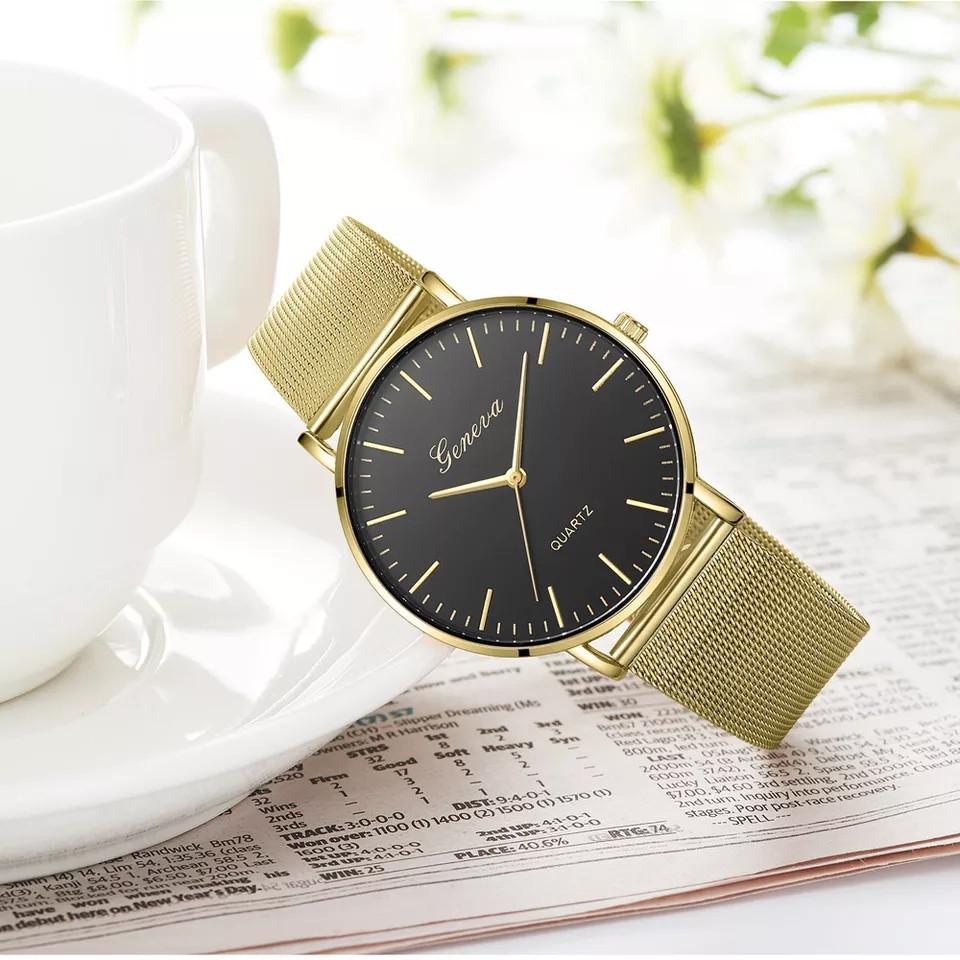 Женские часы Geneva Classic steel watch золотые с черным, наручные кварцевые часы