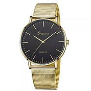 Женские часы Geneva Classic steel watch золотые с черным, наручные кварцевые часы, фото 2