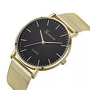 Женские часы Geneva Classic steel watch золотые с черным, наручные кварцевые часы, фото 3