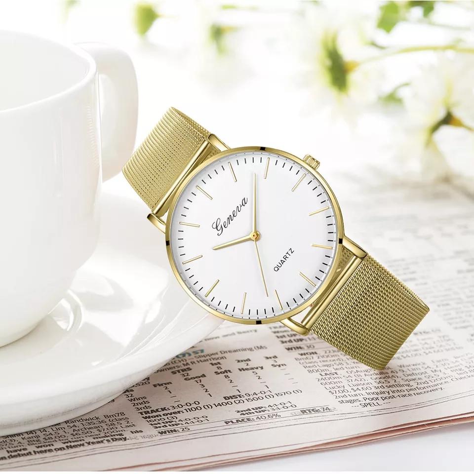 Женские часы Geneva Classic steel watch золотые с белым, наручные кварцевые часы