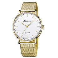 Женские часы Geneva Classic steel watch золотые с белым, наручные кварцевые часы, фото 2