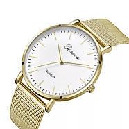 Женские часы Geneva Classic steel watch золотые с белым, наручные кварцевые часы, фото 3