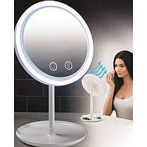 Настольное косметическое зеркало NuBrilliance Beauty Breeze Mirror с подсветкой и вентилятором, фото 2