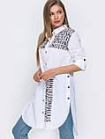 Удлиненная белая рубашка с принтом надписи, фото 2