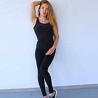 Майка спортивная женская Gt черная с сиреневым кантом