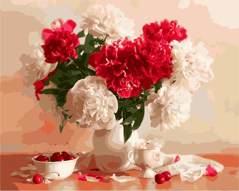 Картина по номерам - Красно-белые пионы и вишни Brushme 40*50 см. (GX8082)