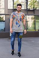 Молодежные мужские джинсовые штаны MN Jeans светло-синие с надписями