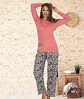 Пижама женская из коттона на верхних пуговицах с длинным рукавом