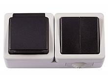 Блок двойной выключатель + розетка с/з и крышкой Luxel DEBUT (6533)