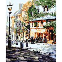 """Картина раскраска по номерам на холсте Идейка Городской пейзаж """"Уютное кафе"""" 40х50 см., сложность 4"""