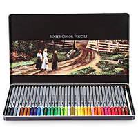 Карандаши цветные Deli 6522 36 цветов шестигранные акварельные с кистью металл/коробка