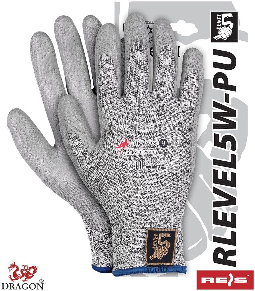 Перчатки рабочие защитные от порезов покрытые полиуретаном REIS Польша RLEVEL5W-PU MELWBS