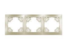 Рамка 3-я горизонтальная Luxel BRAVO (5623) платиновая