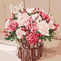 """Картина раскраска по номерам на холсте Идейка Букеты, цветы, натюрморты """"Розы любви"""" 40*40 см, сложность 4"""