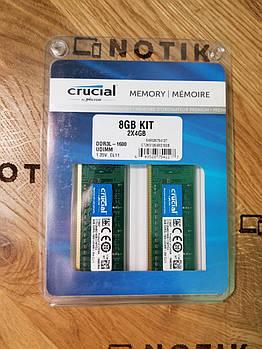 Оперативная память для компьютера Crucial 8GB Kit (4GBx2) UDIMM DDR3L 1600