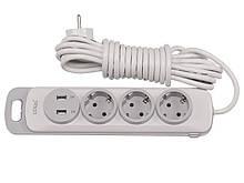 Сетевой удлинитель Luxel Nota 3 розетки 3М с заземлением и выключателем +2 USB гнезда(4333)