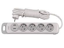 Сетевой удлинитель Luxel Nota 4 розетки 5М с заземлением и выключателем +2 USB гнезда(4355)