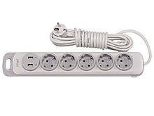 Сетевой удлинитель Luxel Nota 5 розетки 3М с заземлением и выключателем +2 USB гнезда(4373)
