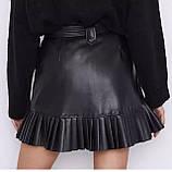 Стильная юбка женская из эко кожи. Размеры: S M L, фото 5