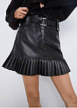 Стильная юбка женская из эко кожи. Размеры: S M L, фото 2