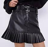 Стильная юбка женская из эко кожи. Размеры: S M L, фото 3