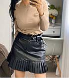 Стильная юбка женская из эко кожи. Размеры: S M L, фото 6