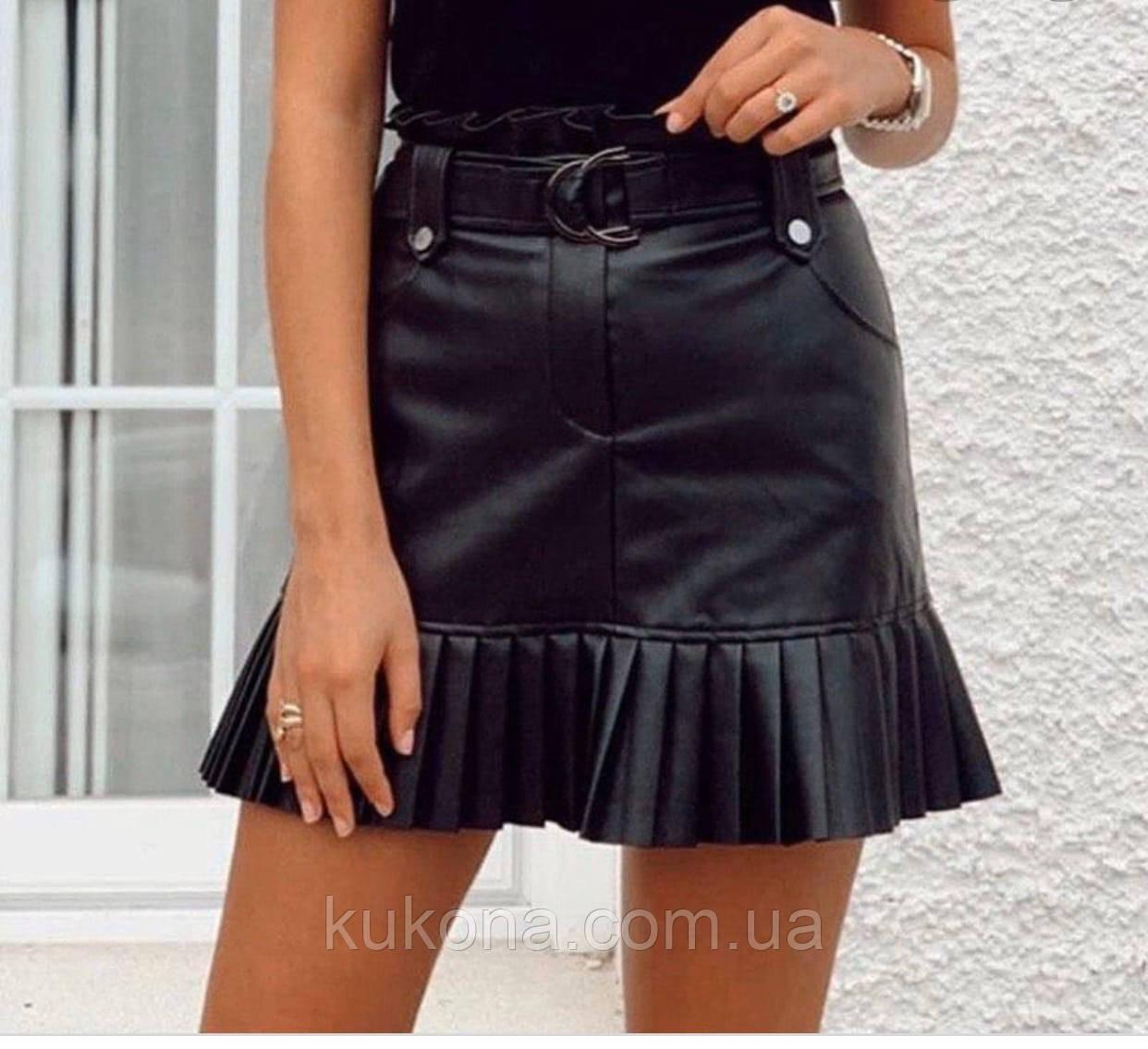Стильная юбка женская из эко кожи. Размеры: S M L
