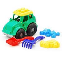 """Трактор """"Кузнечик"""" №2: трактор, лопатка и грабельки (ЛГ4), две большие пасочки (П4)"""