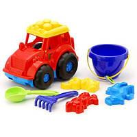 """Трактор """"Кузнечик"""" №3: трактор, ведёрко, лопатка и грабельки (ЛГ3) и три пасочки (П3)"""