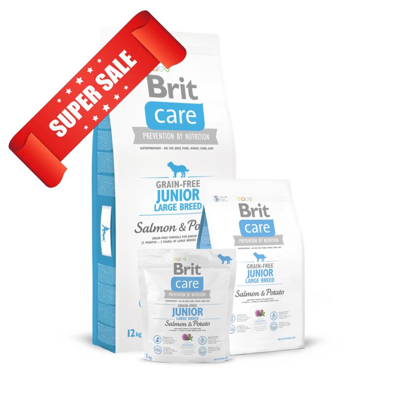 Сухой корм для собак Brit Care Grain-free Junior Large Breed Salmon & Potato 3 кг