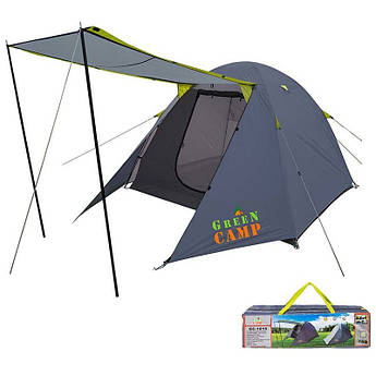Палатка 3-х местная с навесом GreenCamp 1015