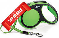 Поводок-рулетка Flexi New Comfort M, 5 м, лента, зеленый