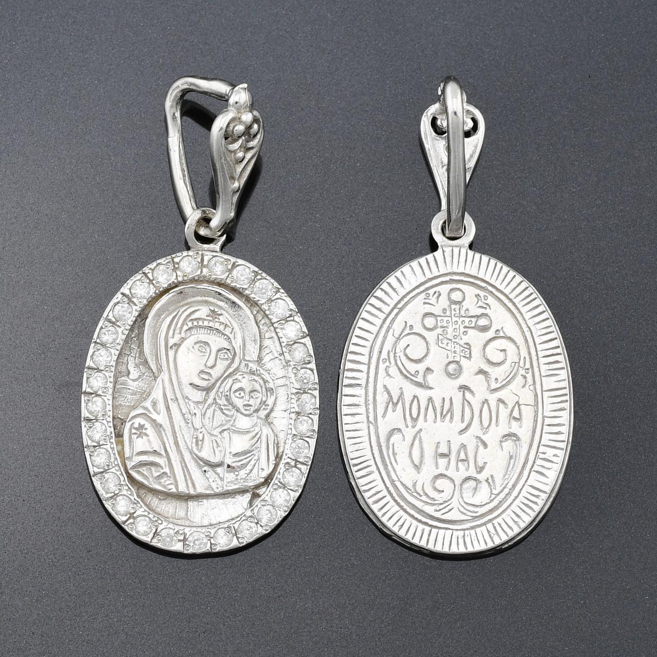 Серебряная иконка Богородица Казанская 38х18 мм вес 4.54 г