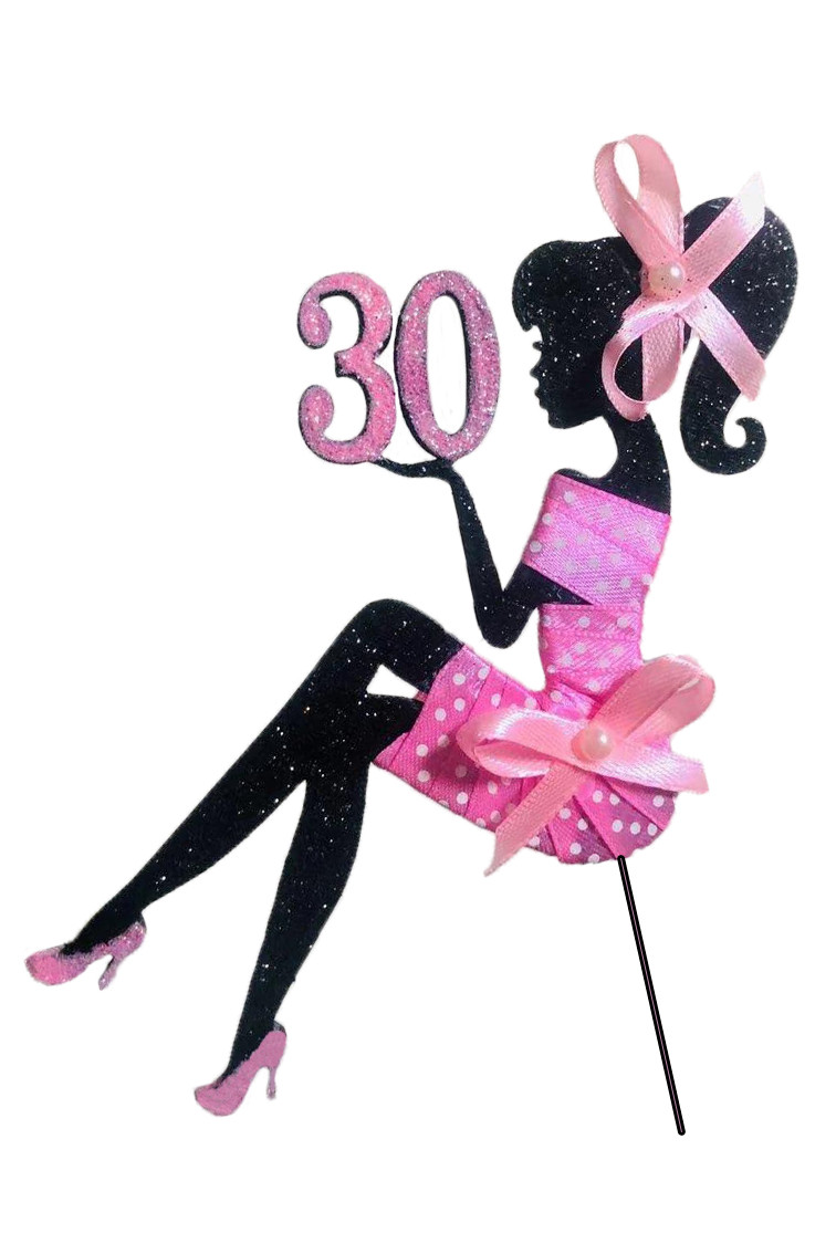 Сидящая девушка с цифрой в атласной ленте , топер сидящая девушка в блестках,топер силуэт девушки на торт
