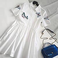 Летнее платье-рубашка с вышивками бабочек